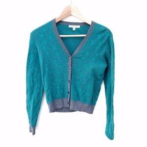 CAbi teal green sweater cardigan XS